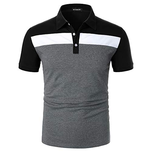 YCUEUST Polo Hombre Contraste Regular Fit Verano Camiseta Negro M