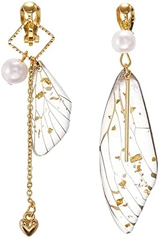 Korea Style Asymmetrical Fresh Fairy Simulation Wing Clip on Earrings Non Pierced Insect Butterfly Wing Earringas for Girl Women
