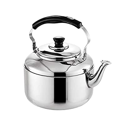 TekkPerry Tea Kettle Stovetop Whistling Teakettle Teapot, Stainless Steel 4L Large Capacity Water Kettle Pot, Thin Base Hot Water Heater for Home Kitchen Camping