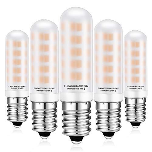 Lampadina LED E14 Dimmerabile, 6W Equivalente 60W Lampada Alogena, 360° Luce Bianco Calda 3000K, E14 LED Lampadina Candelabro, 520LM, CRI80+, Nessun Sfarfallio, AC220-240V, 5 pezzi