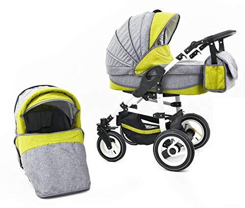 Tabbi ECO LN   2 in 1 passeggino con carrozzina modulari combinabili   ruote in gomma dura   Colore: Green