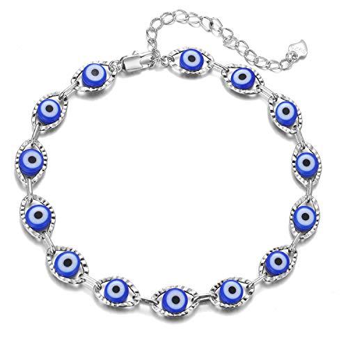 choice of all Daity Evil Eye Bracelets for Women,14K Gold Evil Eye Chain Ankle Bracelet for Girls(Silver light blue)