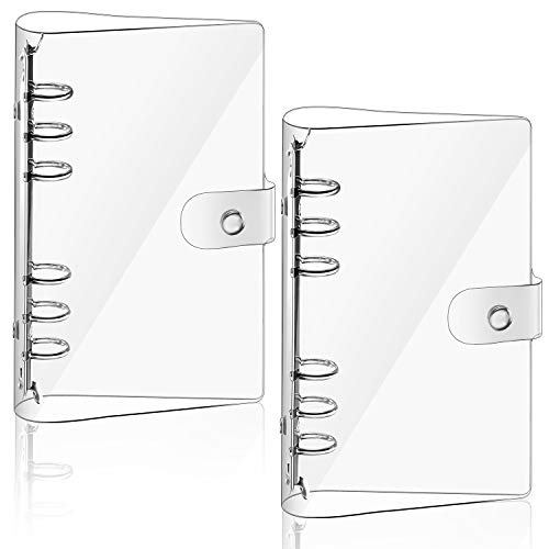 2 Pieces Transparent Soft PVC 6-Ring Binder Cover Snap Button Closure Loose Leaf Folder Notebook Round Ring Clear Binder Cover Protector Snap, Paper Not Included (A6 Size)