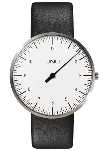 Botta-Design UNO - Orologio da polso, al titanio, quadrante bianco, cinturino in pelle