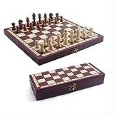 XBSLJ Ajedrez Juego de ajedrez Juego de ajedrez Plegable portátil de Madera de Alta Gama Juego de Mesa de Madera Maciza Hecho a Mano Juego de Backgammon y ajedrez de Entretenimiento