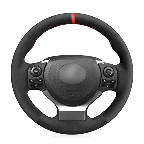 MEWANT Hand-Stitched Black Suede Steering Wheel Cover Wrap for Lexus IS200t 2016 2017 IS250 2014 2015 IS300 2016-2019 IS350 2014-2019 is F-Sport 2014 2015 2016 Accessories Protector