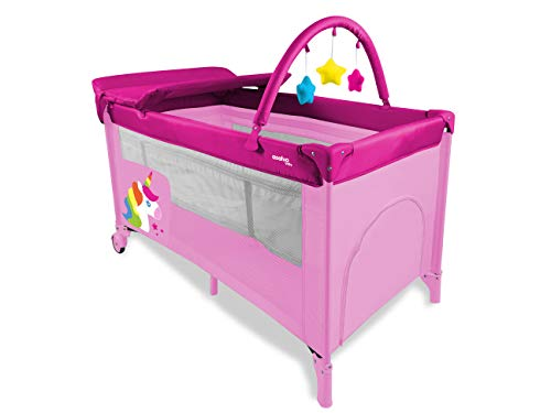 Asalvo 17239 Travel Cot Compact Unicorn - Silla de paseo, color rosa