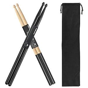 Drum Sticks 5A 1 Pair Nylon Drumsticks 1 Pair Non-Slip Maple Wood with a Velvet Drawstring Bag(Black)