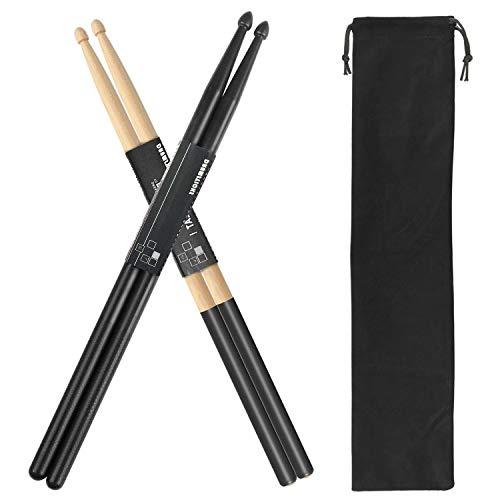 Drum Sticks 5A 1 Pair Nylon Drumsticks 1 Pair Non-Slip Maple Wood with a Velvet...