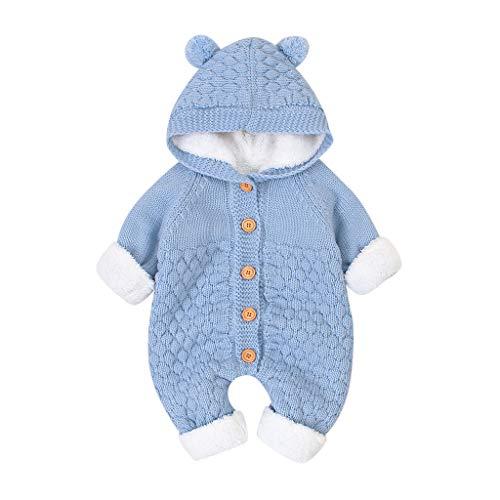 LEXUPE Baby Unisex Langarm Overall Baby Herbst und Winter Outfit Warm Stramper mit Kapuzen Baumwolle Cute Kleidungsset(D-Hellblau,66)