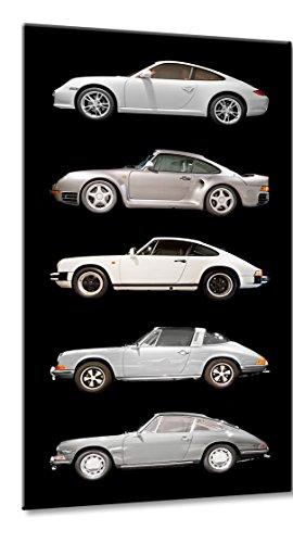 Fine-Art-Manufaktur Bild auf Leinwand Best of 911 Größe: 33cm x 60cm | Porsche 911 Silber Best of Classic Design | Porsche 911 356 Silber Best of | Farbe: schwarz | Rubrik: Porsche + Auto Bilder