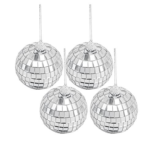 Seahelms Bolas de discoteca de espejo, bola de plata para colgar en la boda, hogar, fiesta, cumpleaños, fiesta, decoración, efecto de iluminación (4 unidades)