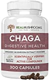Real Mushrooms Chaga Capsules for Digestive Health and Immune Support (300ct) Vegan, Non-GMO Chaga Extract Supplements, Verified Levels of Beta-Glucans