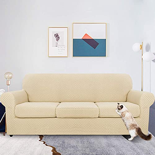 MAXIJIN 4 Piece Newest Jacquard Couch Covers for 3 Seater Super Stretch Non Slip Couch Cover for Dogs Pet Friendly Elastic Furniture Protector Sofa Slipcovers (3 Seater, Light Beige)