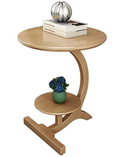 SHUJINGNCE Table Basse en Bois Massif Petite Table Basse Salon Canapé Table d'appoint de Table Ronde Amovible Table de Chevet avec Espace de Rangement (Color : Dark Color)