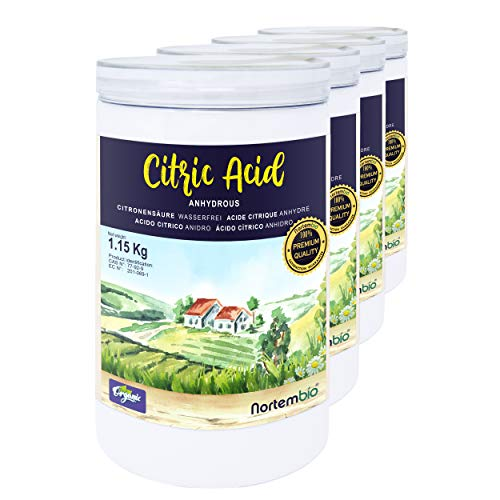 Nortembio Acide Citrique 4x1,15 Kg. Poudre Anhydre, 100% Pure. pour la Production Biologique. E-Book Inclus.