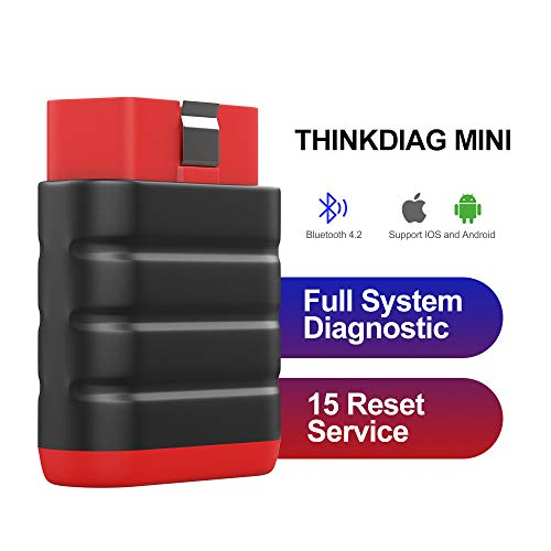ThinkDiag Mini Bluetooth Diagnostic Car Scanner, OBD2 Car Code Reader, Full System Scan Tool for IMMO,15 Reset Service, Free Software, Print Health Report for iOS, Android