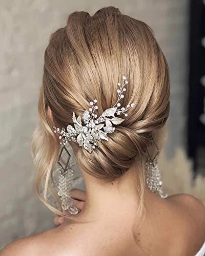 Unicra - Pettine per capelli da sposa con foglie e cristalli, accessori per capelli da sposa per donne e ragazze