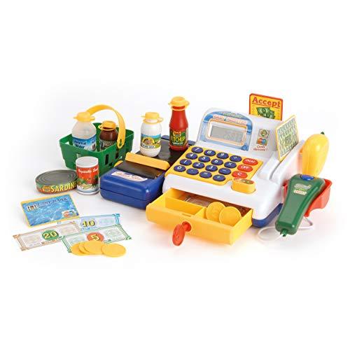 Toyrific TY5044 Kassenspielzeug, Spielzeugkasse mit Scanner und Spielzeug-Lebensmittel, ab 3 Jahren, H14.5 x W26 x D19cm