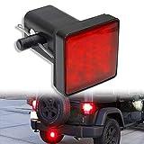 OPP ULITE Trailer Hitch Lights LED Brake Tail Light 15 LEDs Red Lens Cover Light Fit 2' Receiver Truck SUV (Trailer Lights LY039-1)