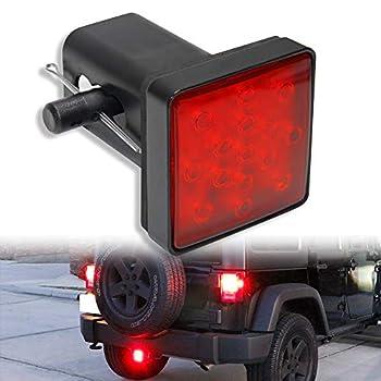 OPP ULITE Trailer Hitch Lights LED Brake Tail Light 15 LEDs Red Lens Cover Light Fit 2  Receiver Truck SUV  Trailer Lights LY039-1