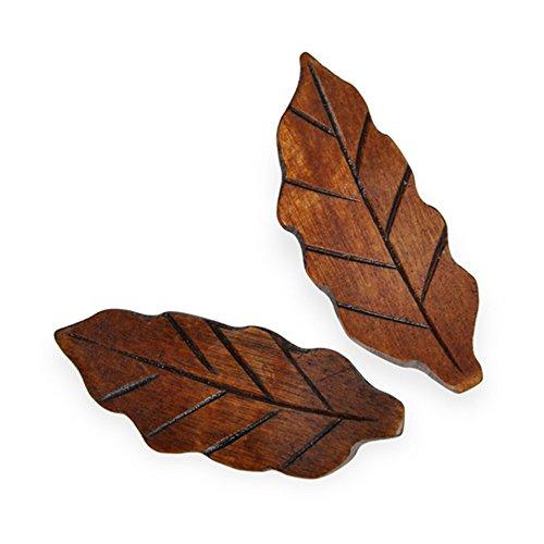 Ecloud Shop® Naturholz Blattform 2 Stück Essstäbchenablage aus Holz Klassisches Design Restaurants Accessoires