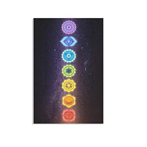 zuomo Lienzo de Pintura, Carteles artísticos, Impresiones, meditación, 7 Chakra, Yoga, Deportes, Arte de Pared para Sala de Estar, Dormitorio, sin Marco, 50x70cm