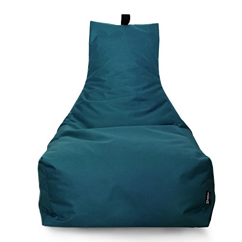 Lounge Sitzsack Liege Beanbag 32 Farben wählbar 90cm(Ø) Rückenlehne Bodenkissen Indoor Outdoor Sitzsäcke Gaming Kinder Bean Bag Erwachsene Riesensitzsack gefüllter Sessel(Petrol)
