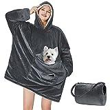 Yescool Wearable Blanket Hoodie, Oversized Sherpa Hooded Blanket Sweatshirt, Giant Warm Fuzzy Fleece Lounging Blanket with Hood Sleeves Pocket, Soft Comfort Packable for Women Men Adults (Grey)