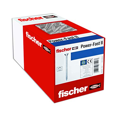 fischer 670194 caja de tornillos para madera rosca total 4x30, cincado