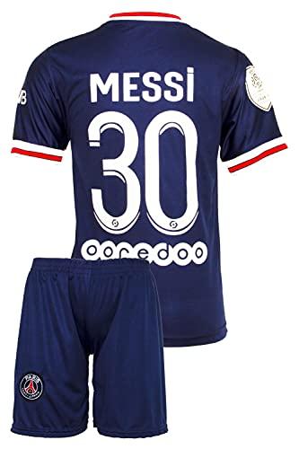 IHIMI Paris Lionel Messi Kinder Trikot #30, 2021/2022 Saison, Heim, Komm mit Shorts und Socken Fußballfans (10-11 Jahre,164)