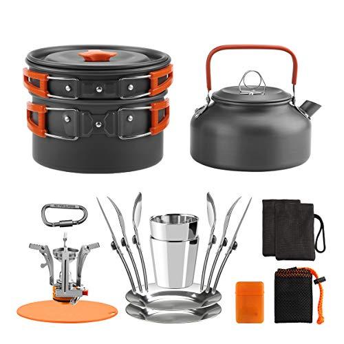 Awroutdoor Camping Kochgeschirr Set, Aluminium Campingtöpfe Kochgeschirr Portable Leichte Mini Campingkocher für Outdoor Kochen Camping, Backpacking