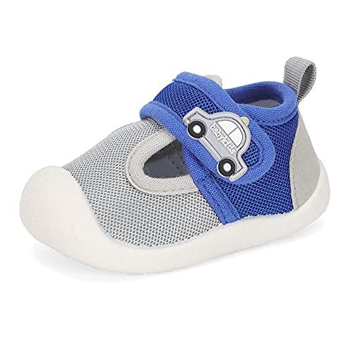 LACOFIA Scarpe Primi Passi per Neonato Sneakers Traspiranti Antiscivolo Bimbo Scarpine Ginnastica per Bambino Grigio Blu 19