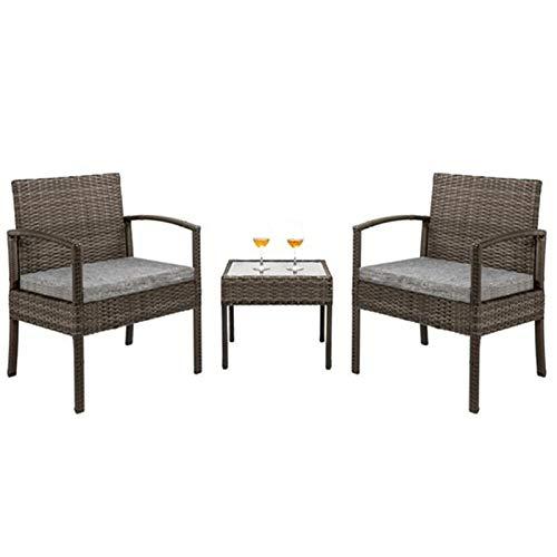 PHH 3 Piezas Patio Muebles Conjunto Mimbre ratán Patio al Aire Libre conversación Conjunto 2 sillas amortiguadas y sillas de jardín de Mesa Final (Color : Dark Gray)