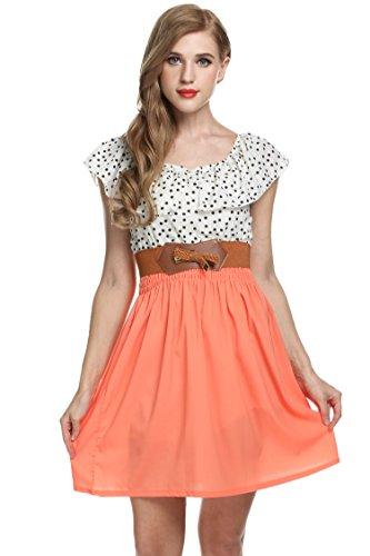 Zeagoo Damen Vintage Sommerkleid Punkt Partykleid Polka Dots O-Ausschnitt Minikleid mit Gürtel - 3