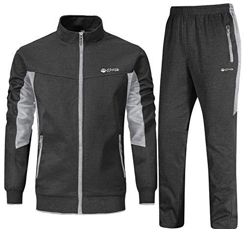 YSENTO Chándal para hombre, chándal, pantalones de deporte y chaqueta de entrenamiento, ropa deportiva para el gimnasio Gris oscuro + gris claro. L