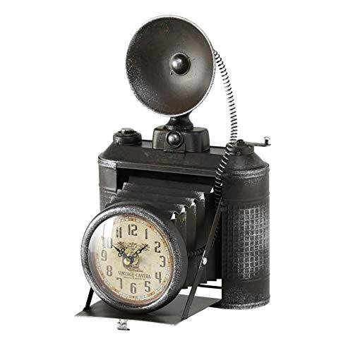 CasaJame Tischuhr Antike Kamera Fotoapparat schwarz antiklook Eisen L20cm B19cm H33cm