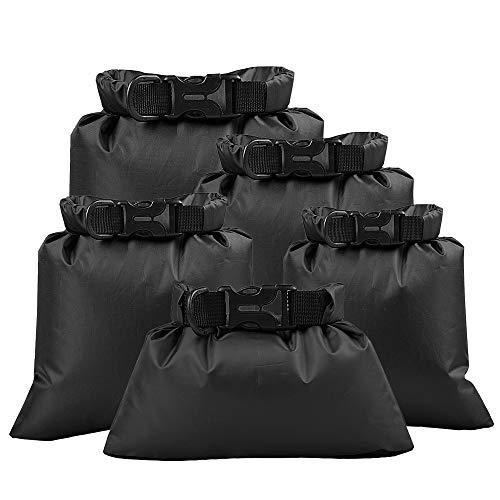 Lixada 5 Stück Outdoor wasserdichte Aufbewahrungsbeutel Packsäcke,für Camping Bootfahren Smartphone Kamera Aufbewahrungsbeutel für treibenden Wassersport,(1,5 L + 2,5 L + 3,0 L+3,5L+5,0L) (Black)