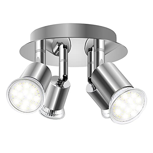DoRight Faretti LED da Soffitto Orientabili 360° Faretto girevole a 4 vie Piatto tondo da 18 cm Faretti da soffitto Basi luminose 4X GU10 per soggiorno, cucina (senza sorgente luminosa)