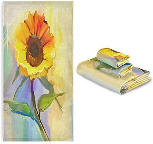 Pintura al óleo Amarillo Girasol Suave de Lujo Toalla de Baño Toalla, Toallas Absorbentes para el Cuarto de Baño, Hotel, Gimnasio, SPA y Playa,el 28,7*13,8