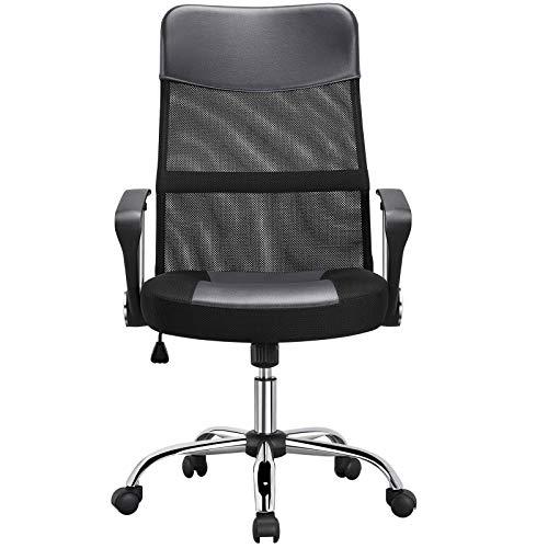 Yaheetech Ergonomischer Bürostuhl Bürodrehstuhl, höhenverstellbarer Chefsessel, Drehstuhl mit Wippfunktion, Computerstuhl grau