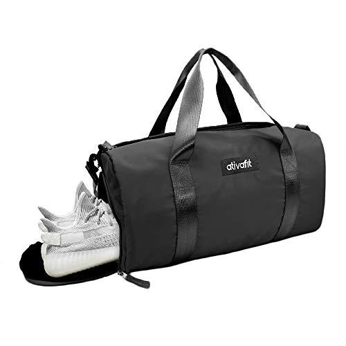 ATIVAFIT Damen Sporttasche Barrel Shoulder Duffel Mit Schuhfach Übernachtung Taschen/Sporttasche für Reisen Sport Gym Urlaub Schwarz