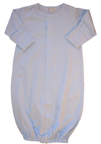 Kissy Kissy Baby Dots Convertible Gown-Blue with White Dots-Newborn