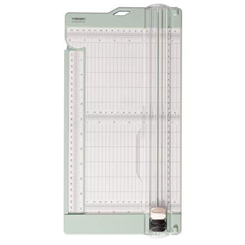 Vaessen Creative 2207-109 Papierschneider zum Schneiden und Falzen von geraden Linien auf A3, A4 und kleineren Papierformaten, Mintgrün, für Scrapbooking und Karten Basteln, 15,2 x 30,5 cm