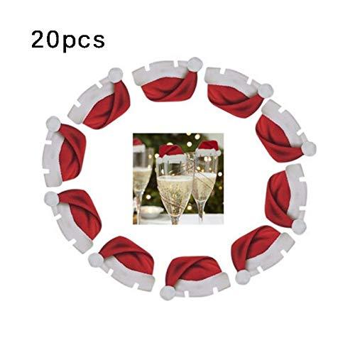 CHIPYHOME 20 Unds. de gorritos de Navidad para decoración de Copas y Vasos o sobre Tarjetas con Nombre de...