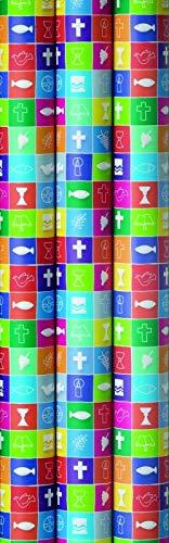 3 Rollen Premium Geschenkpapier, Kommunion, Konfirmation, Taufe, 2m x0,7m