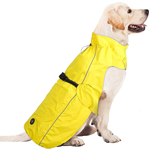 Pro Plums Dog Raincoat Adjustable Lightweight Jacket with Reflective Straps Buckle and Harness Hole Best Gift for Large Medium Small Puppy Dog (L (18''-21''), Yellow)