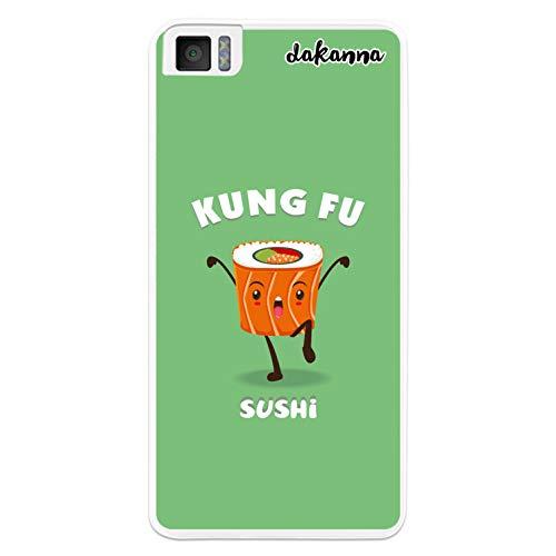 dakanna Kompatibel mit [Bq Aquaris M4.5 - A4.5] Flexible Silikon-Handy-Hülle [Transparent] Kung Fu Sushi Essen Design, TPU Hülle Cover Schutzhülle für Dein Smartphone