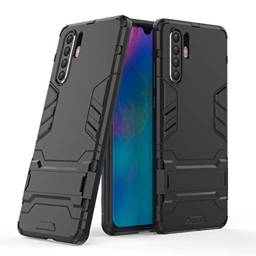 Miagon Kickstand Cover per Huawei P30 Pro,Antiurto Hybrid Dual Layer Armor PC Guscio Protezione Custodia con Supporto Funzione,Nero