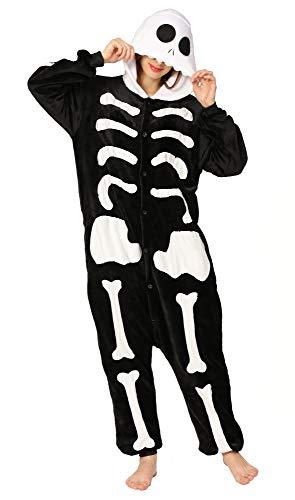 Yimidear® Unisex Cálido Pijamas para Adultos Cosplay Animales de Vestuario Ropa de Dormir Halloween y Navidad(XL, Hueso)